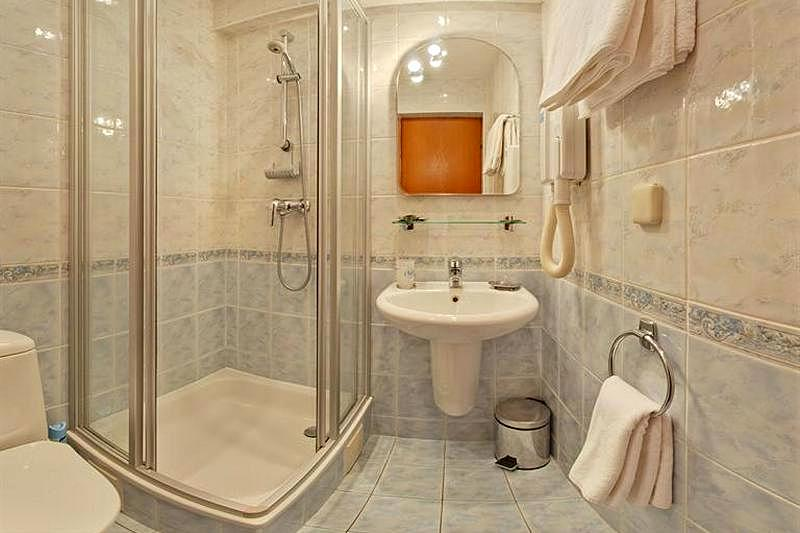 Bathroom at Superior Comfort Double Room at Aeropolis Hotel in Moscow   Russia. Superior Comfort Double Rooms at Moscow s Aeropolis Hotel