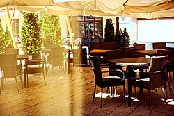 Topaz Restaurant and Bar Summer Terrace at Aquamarine Hotel in Moscow, Russia