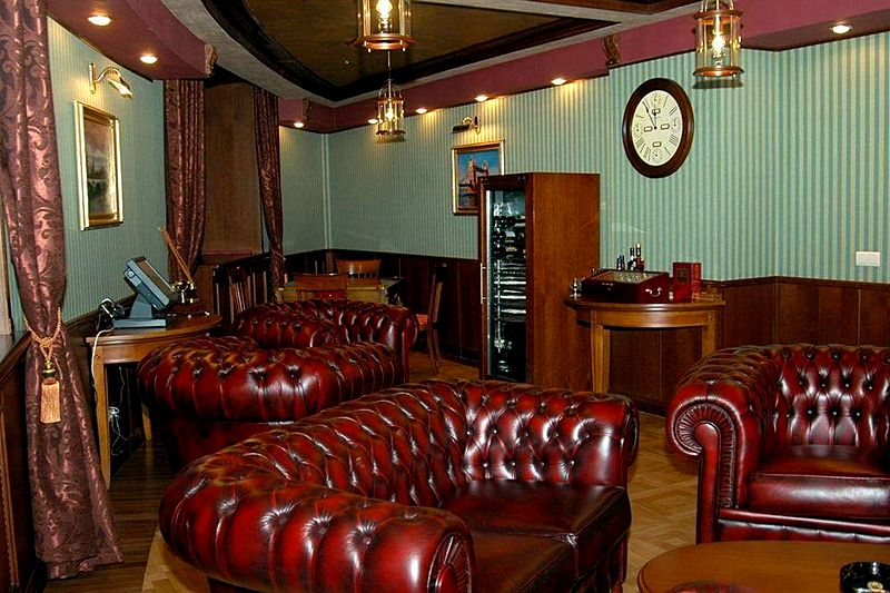 Cigar Lounge At Borodino Hotel In Moscow, Russia