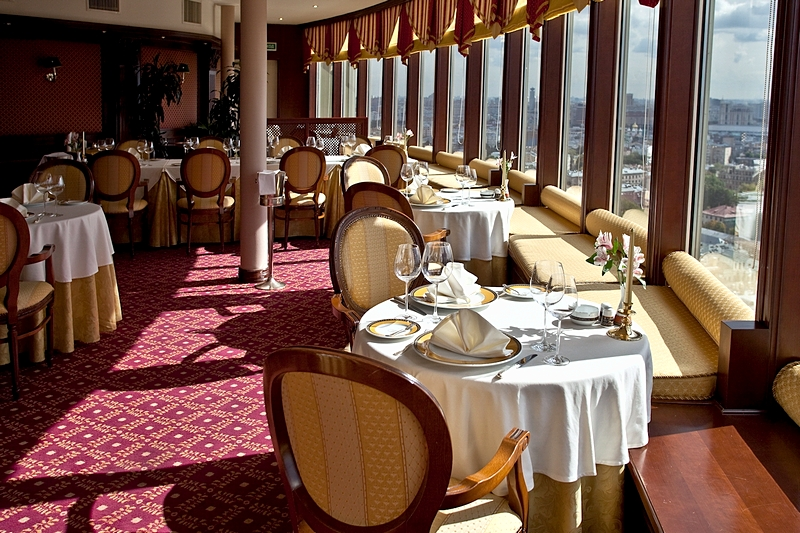 Panorama Restaurant At The Deluxe Golden Ring Hotel In Moscow